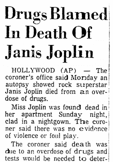 An Article About The Death Of Rock Singer Janis Joplin Mobile Register Newspaper 6