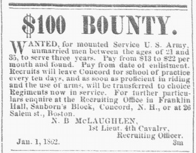 A newspaper recruitment ad for the U.S. Civil War, New Hampshire Patriot and State Gazette newspaper advertisement 1 January 1862