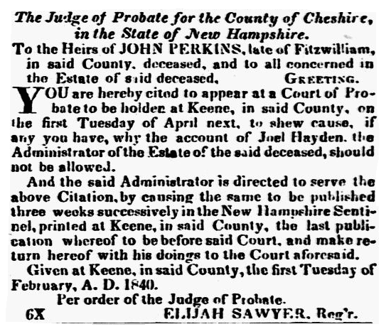 A probate notice for John Perkins, New Hampshire Sentinel newspaper article 12 February 1840