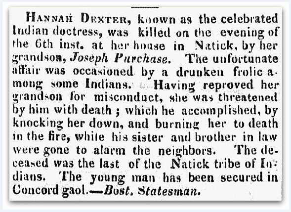 An article about Hannah Dexter and the Natick indians, New Hampshire Sentinel newspaper article 29 December 1821