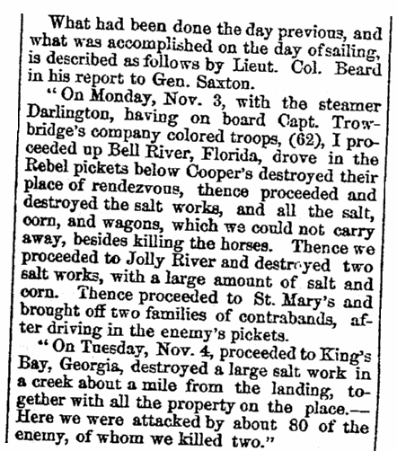 An article about Civil War action around Jacksonville, Florida, New-York Daily Reformer newspaper article 20 November 1862