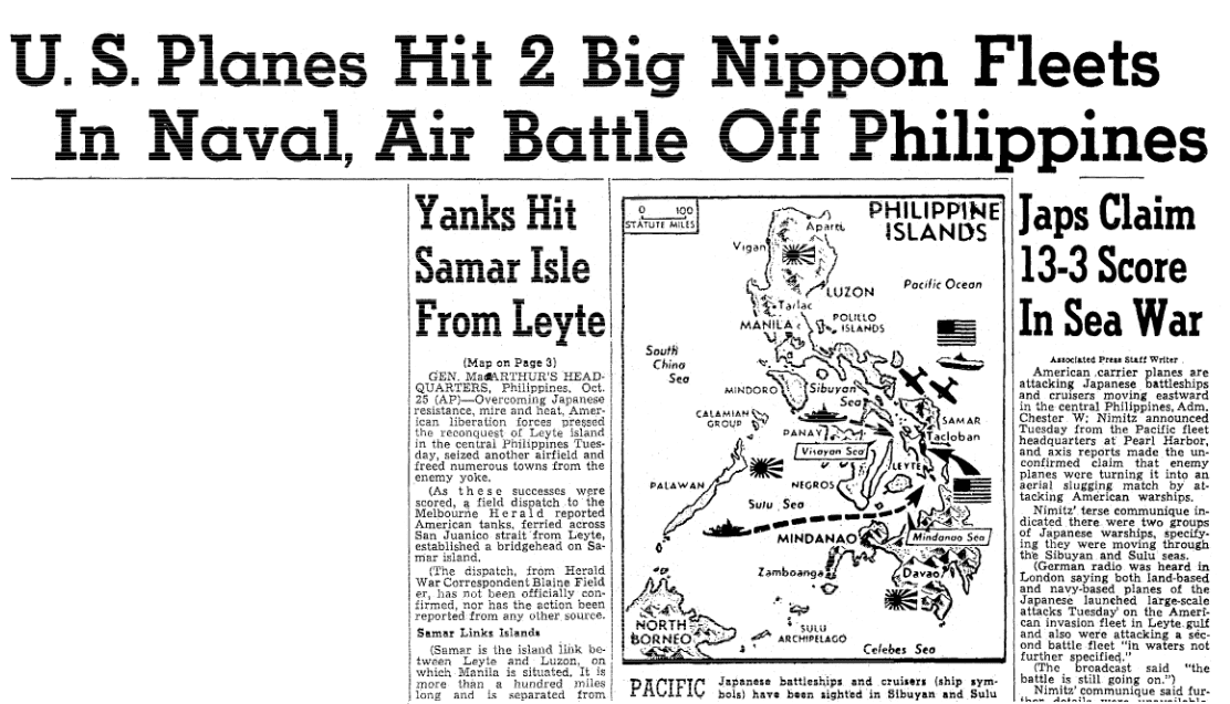 An article about the Battle of Leyte Gulf during World War II, Oregonian newspaper article 25 October 1944