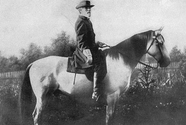 "Photo: Robert E. Lee mounted on Traveller, his famous ""war horse,"" September 1866. Credit: Michael Miley; Wikimedia Commons."