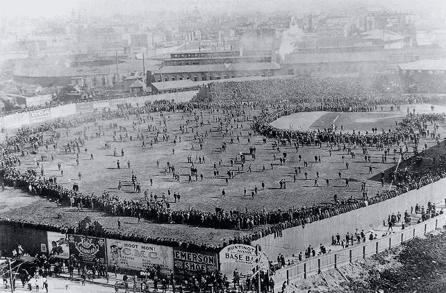 Photo: an overflow crowd at the Huntington Avenue Grounds in Boston prior to Game 3 of the 1903 World Series
