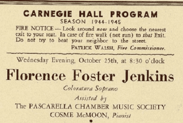 Photo: Florence Foster Jenkins program for a concert at Carnegie Hall on 25 October 1944. Credit: Wikimedia Commons.