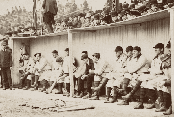Photo: the Pittsburgh Pirates in the dugout at the Huntington Avenue Grounds, Boston, 1903 World Series. Credit: Boston Public Library; Wikimedia Commons.
