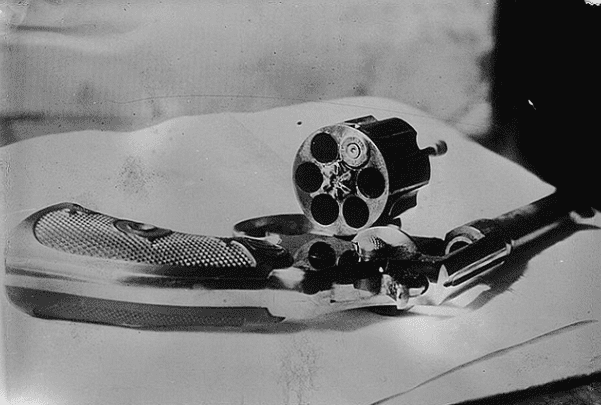 Photo: revolver of John Flammang Schrank used in his attempted assassination of Theodore Roosevelt in 1912. Credit: Bain News Service; Wikimedia Commons.