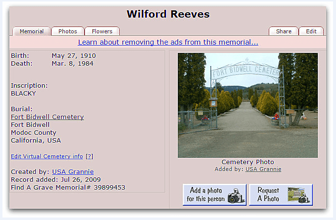 Find-a-Grave postiing for Wilford Reeves