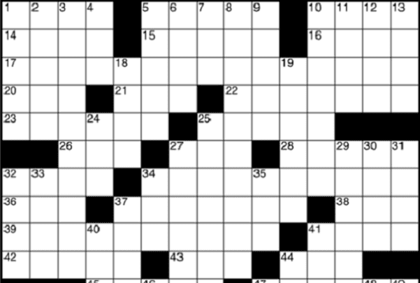 Photo: a crossword puzzle layout. Credit: Michael J; Wikimedia Commons.