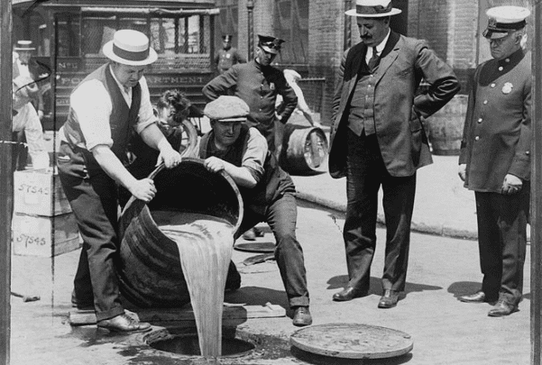 Photo: removal of liquor during prohibition. Credit: Wikimedia Commons.