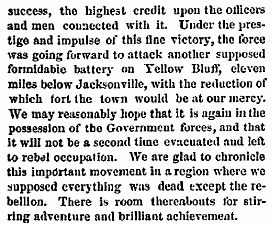 An article about Civil War action around Jacksonville, Florida, Providence Evening Press newspaper article 11 October 1862