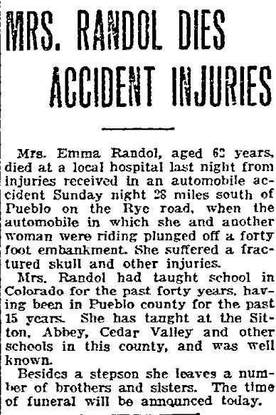A death notice for Emma Randol, Pueblo Chieftain newspaper article 13 August 1918