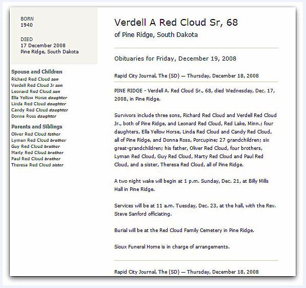 An obituary for Verdell Red Cloud, Rapid City Journal newspaper article 18 December 2008