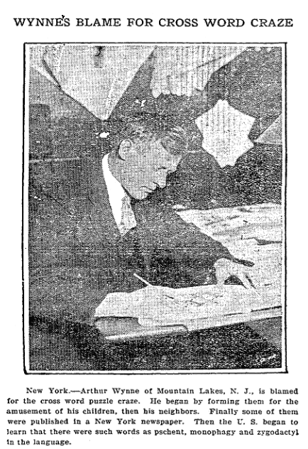 An article about Arthur Wynne and crossword puzzles, Repository newspaper article 29 November 1924
