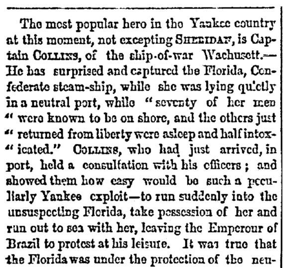 """An article about the """"Bahia Incident"""" -- a U.S. Civil War battle that took place in the harbor of Bahia, Brazil, in 1864, Richmond Examiner newspaper article 14 November 1864"""