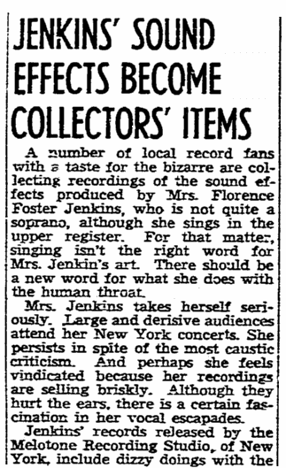 An article about Florence Foster Jenkins, San Diego Union newspaper article 23 July 1944