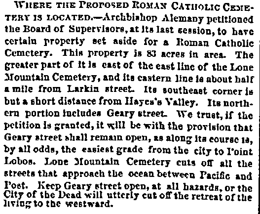 An article about a Roman Catholic cemetery, San Francisco Bulletin newspaper article 5 September 1860