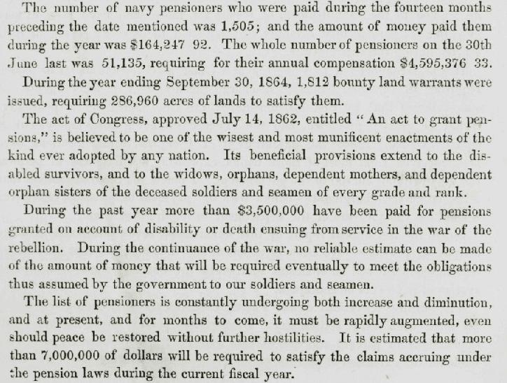 A report on military pensions during the Civil War, U.S. Congressional Serial Set Vol. No. 1220, Report: H.Exec.Doc. 1 pt. 5, 5 December 1864