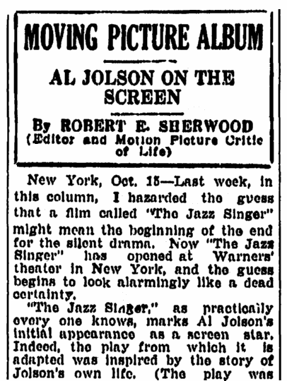 "A review of the movie ""The Jazz Singer,"" Springfield Republican newspaper article 16 October 1927"