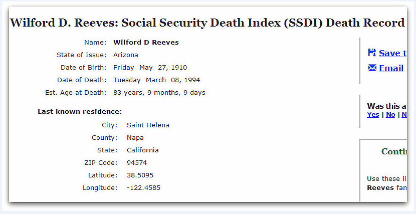 Social Security Death Index listing for Wilford D. Reeves