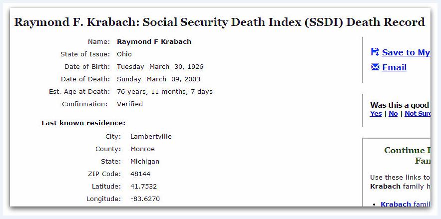 SSDI record for Raymond Krabach