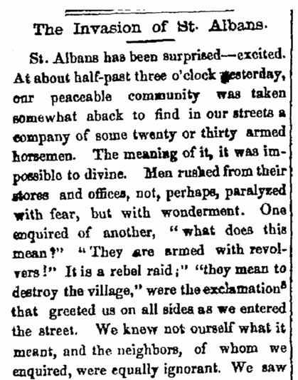 An article about the Confederate raid on St. Albans, Vermont, during the Civil War, St. Albans Daily Messenger newspaper article 20 October 1864
