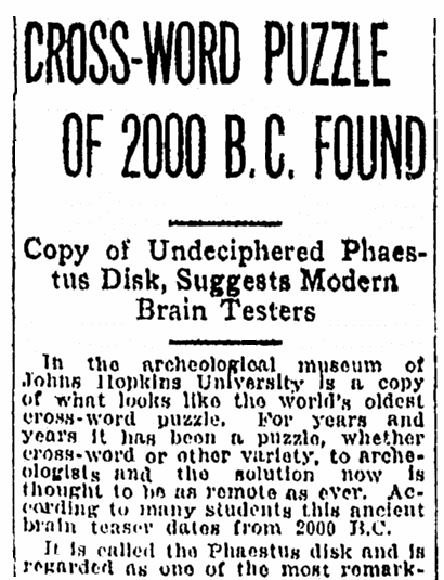 An article about the Phaistos Disc from ancient Crete, Tampa Tribune newspaper article 2 December 1924