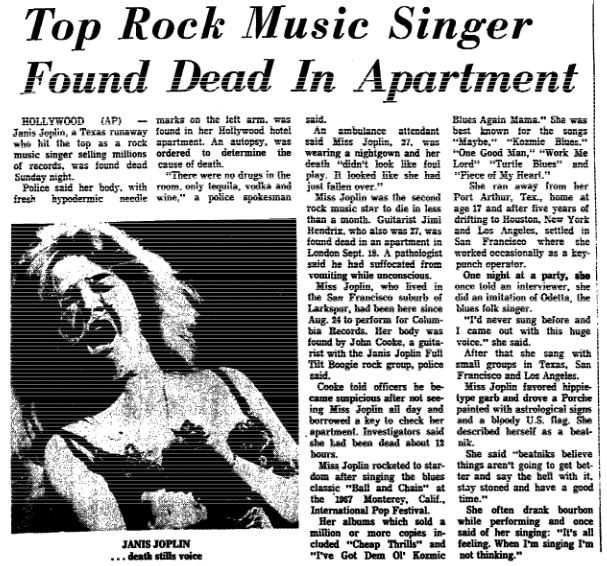 An article about the death of rock singer Janis Joplin, Trenton Evening Times newspaper article 5 October 1970