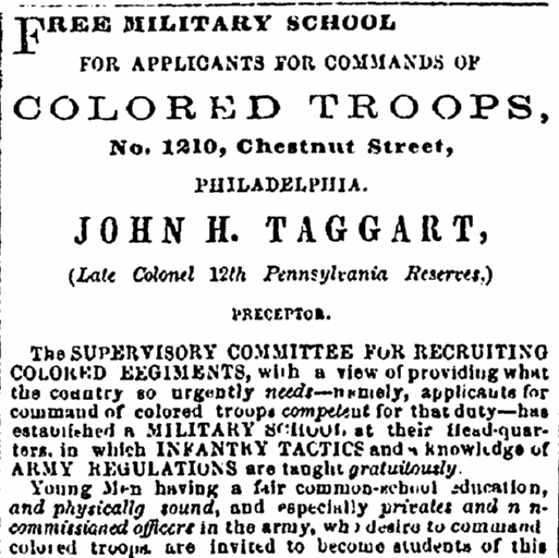 A newspaper recruitment ad for the U.S. Civil War, Washington Reporter newspaper advertisement 13 January 1864