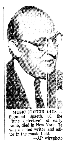 A photo of Sigmund Spaeth from his obituary, Advocate newspaper article 13 November 1965