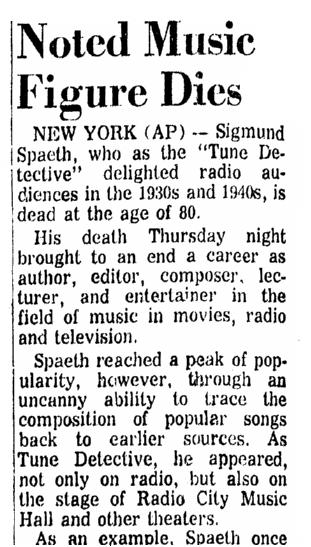 An obituary for Sigmund Spaeth, Advocate newspaper article 13 November 1965