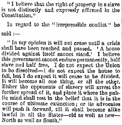 A speech by Abraham Lincoln, Albany Evening Journal newspaper article 19 May 1860
