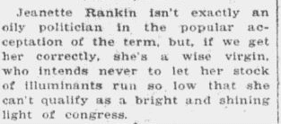 An article about Jeannette Rankin, Anaconda Standard newspaper article 11 November 1916