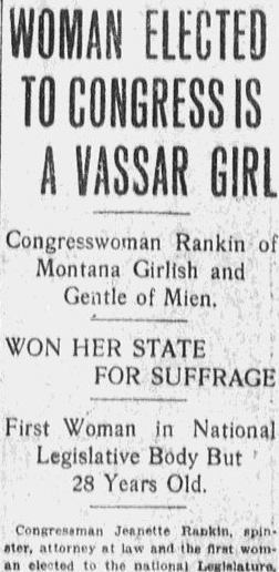 An article about Jeannette Rankin, Boston Journal newspaper article 10 November 1916