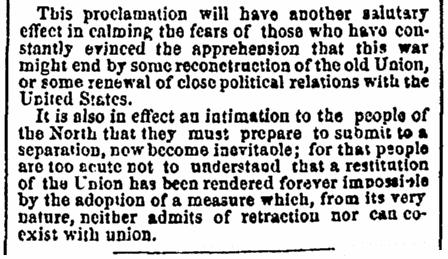 A speech by Jefferson Davis, Boston Traveler newspaper article 22 January 1863