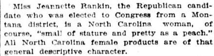 An article about Jeannette Rankin, Charlotte Observer newspaper article 12 November 1916