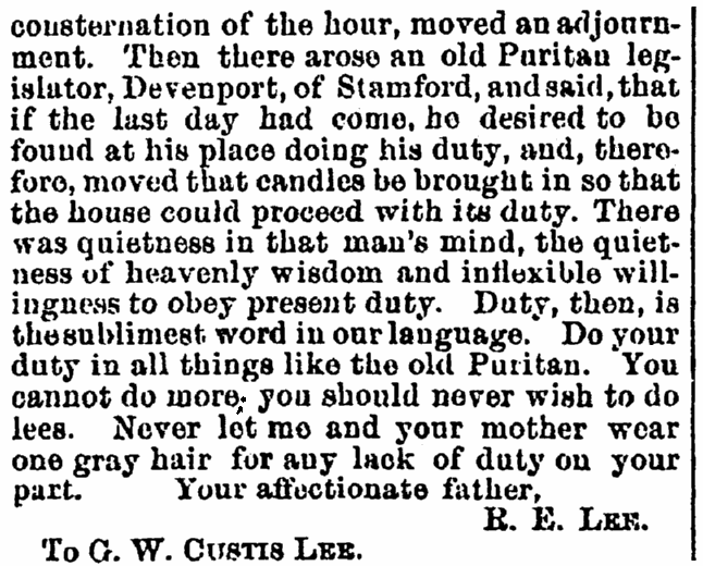 A letter from Robert E. Lee to his son Custis, Crisis newspaper article 30 November 1864