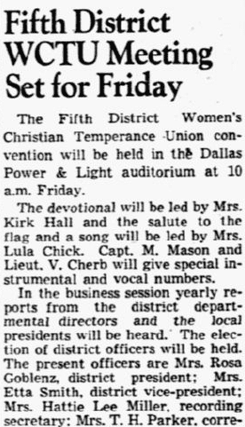 An article about a WCTU meeting, Dallas Morning News newspaper article 24 September 1941