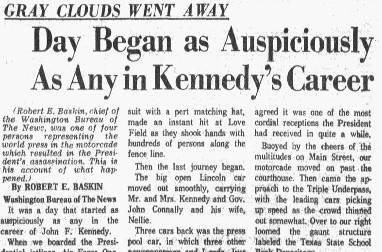 An article about the assassination of President John F. Kennedy, Dallas Morning News newspaper article 23 November 1963