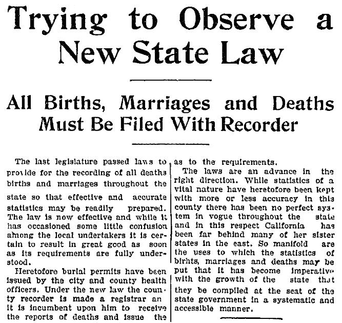 California Divorce Records: Genealogy 101: #5 Death Certificates