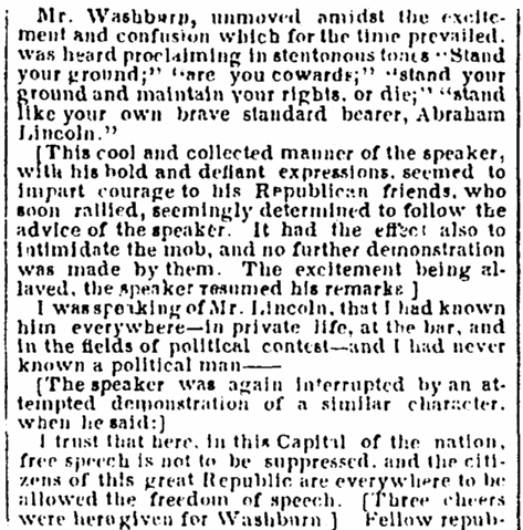 A speech by Cadwallader C. Washburn, Evening Star newspaper article 21 May 1860
