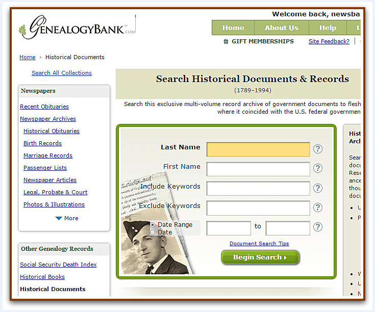 A screenshot of the search page for GenealogyBank's Historical Documents collection