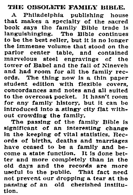 An article about family Bibles, Idaho Statesman newspaper article 7 January 1911