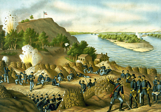 "Illustration: ""Siege of Vicksburg – 13, 15, & 17 Corps, commanded by Gen. U.S. Grant, assisted by the Navy under Admiral Porter – Surrender, July 4, 1863,"" by Kurz and Allison"