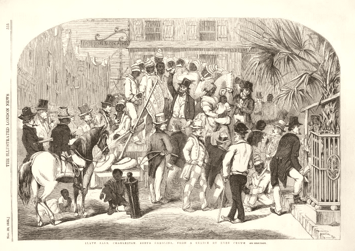 "Illustration: ""Slave sale, Charleston, South Carolina,"" wood engraving, by an unknown engraver, page taken from the Illustrated London News, 1856. Courtesy of the British Museum, London"