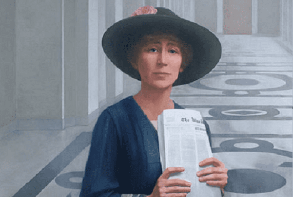 Illustration: portrait of Jeannette Rankin by Sharon Sprung. Credit: Wikimedia Commons.