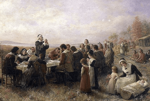 "Illustration: ""The First Thanksgiving at Plymouth,"" by Jennie A. Brownscombe, 1914. Credit: Stedelijk Museum De Lakenhal; Wikimedia Commons."