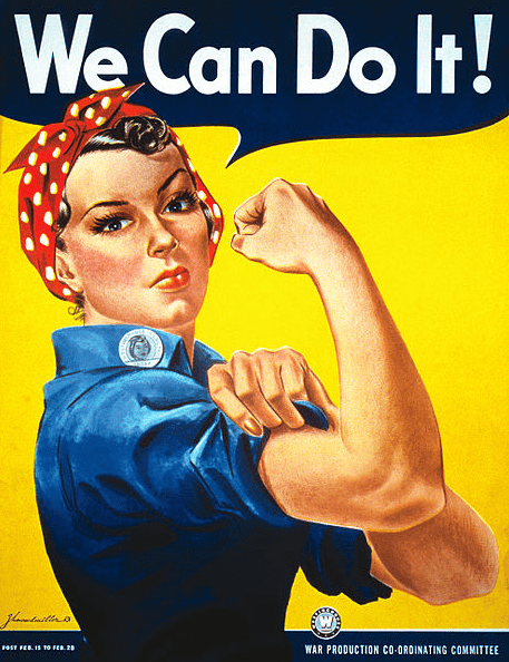 "Illustration: ""We Can Do It!"" poster for Westinghouse, closely associated with Rosie the Riveter, although not a depiction of the cultural icon itself, 1942"