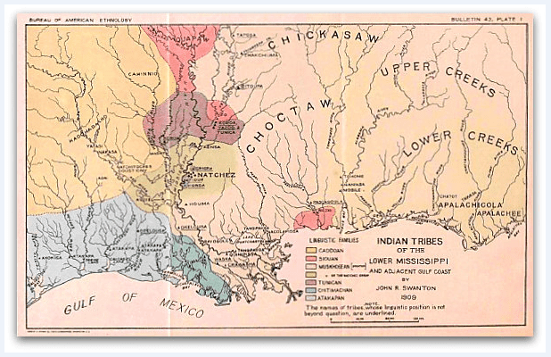 Map: historical location of Native American tribes of the lower Mississippi River and adjacent Gulf Coast