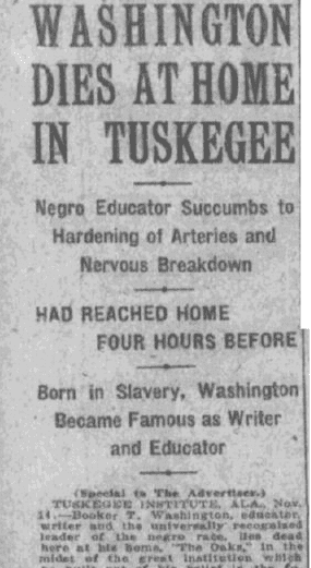 An obituary for Booker T. Washington, Montgomery Advertiser newspaper article 15 November 1915